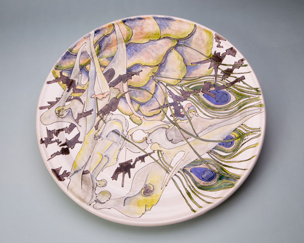 Platter with peacock feathers