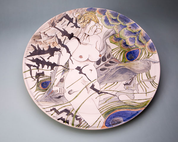 Platter with peacock and female figure