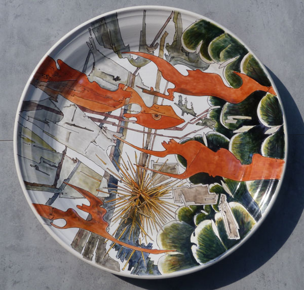 Platter with artichoke, rock and rust, Sold