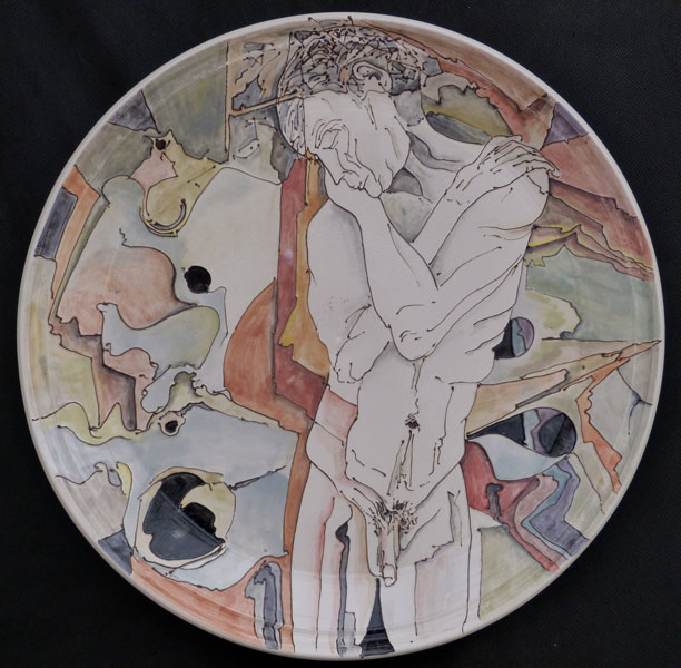 Platter with eucalyptus and male figure, sold