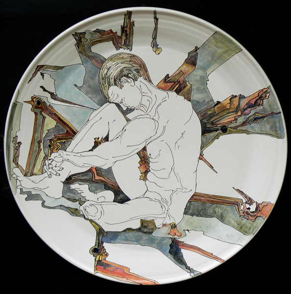 Platter with male figure and fill pastry tree bark
