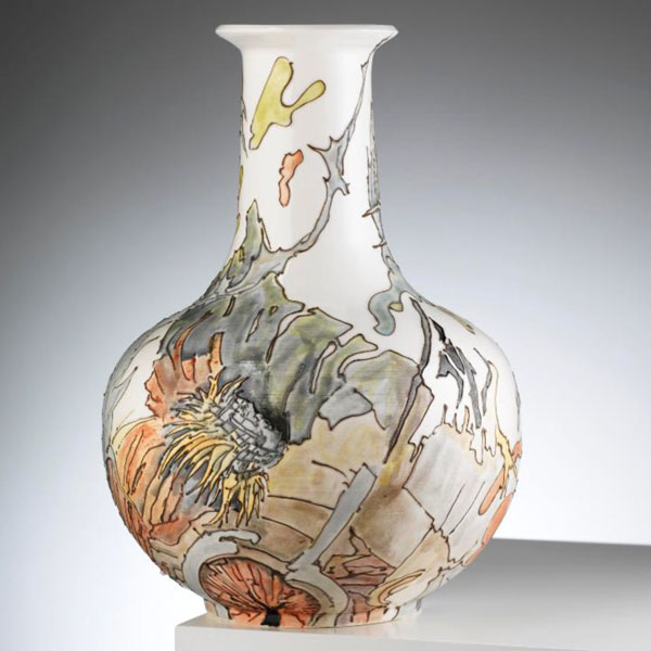 Vase with bark and thistle, sold
